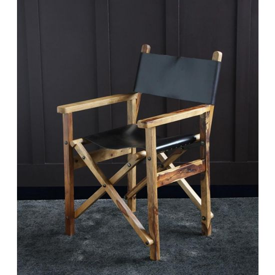 DIRECTORS CHAIR BLACK LEATHER SEAT AND BACK WITH NATURAL SOLID WOOD FRAME