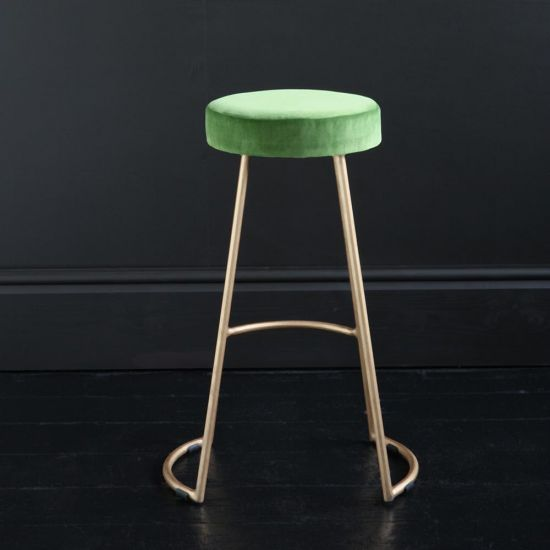 Tapas Velvet Cocktail Bar Stools - Green Grass Velvet Seat - Gold base - 67cm