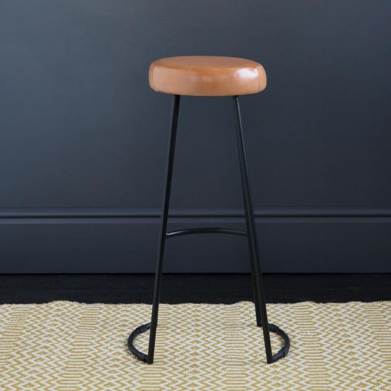 TAPAS INDUSTRIAL BAR STOOL CARAMEL LEATHER SEAT 78 CM BLACK BASE