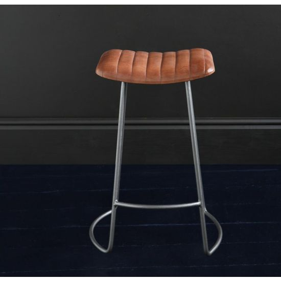 THE BARCELONA BAR STOOL WITH BROWN BUFFALO UPHOLSTERED SEAT NICKEL COLORED METAL BASE, 66 CM SEAT HEIGHT