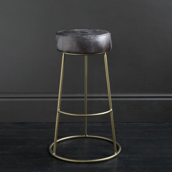Wenlock 75 Antique Black Leather Round Bar Stool with Brass-Finished Pewter Frame and Footrest