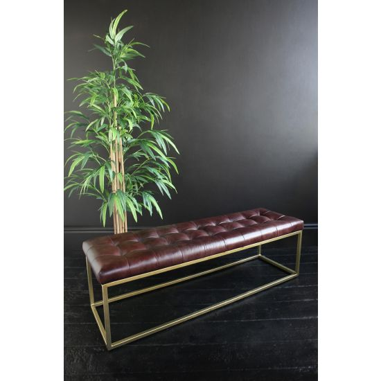 OXFORD BROWN BUFFALO LEATHER OTTOMAN WITH BRASS METAL BOX FRAME, 140CM WIDE