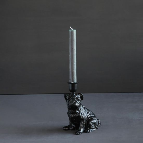 Baxter Black Dog Candle Holder Iron Candlestick Decorative Animal Home Ornament