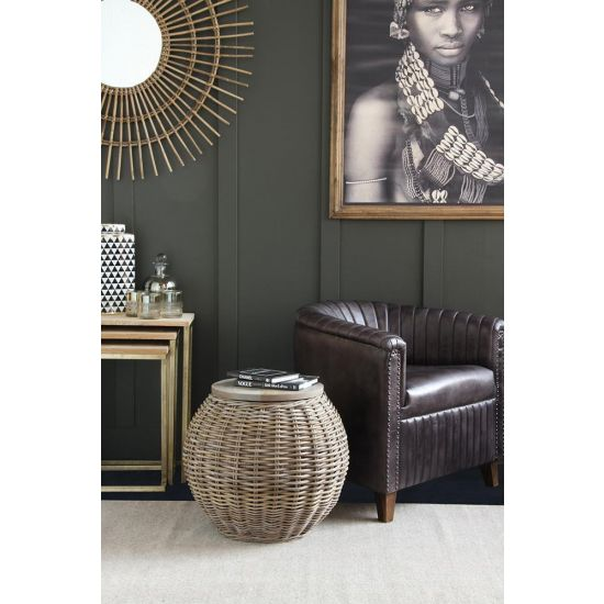Barrel Rattan Side Table with removeable wood top