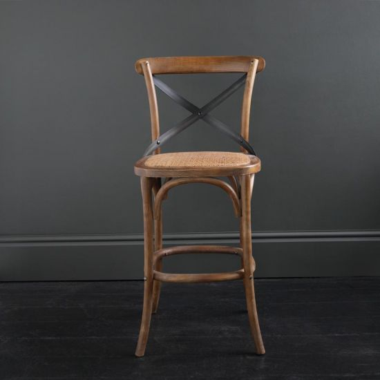 French Cross Back Bar Stool - Dark Oak with Metal Cross Band, 66 cm