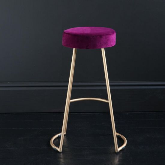 Tapas Velvet Cocktail Bar Stools - Pitaya Burgundy Velvet Seat - Gold base - 67cm