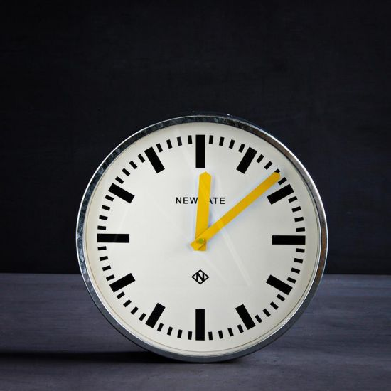 Station Desk Clock Silver Metal Frame - Yellow - White 30cm Diameter