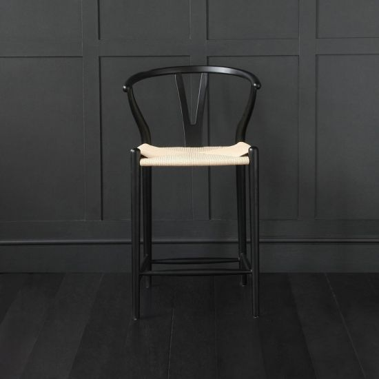 Wishbone Bar Stool Hans Wegner Style Black Frame Ash Natural Seat Breakfast 66