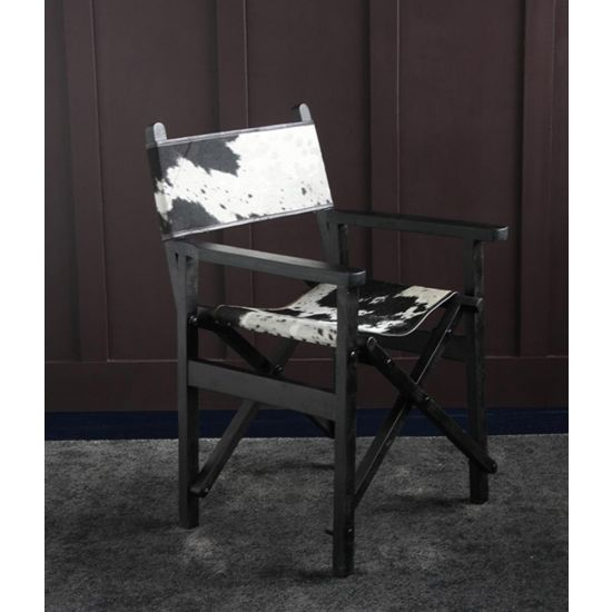 DIRECTORS CHAIR BLACK & WHITE COW HIDE SEAT AND BACK WITH BLACK SOLID WOOD FOLDING FRAME