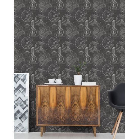 Horlogerie Anthracite Wallpaper