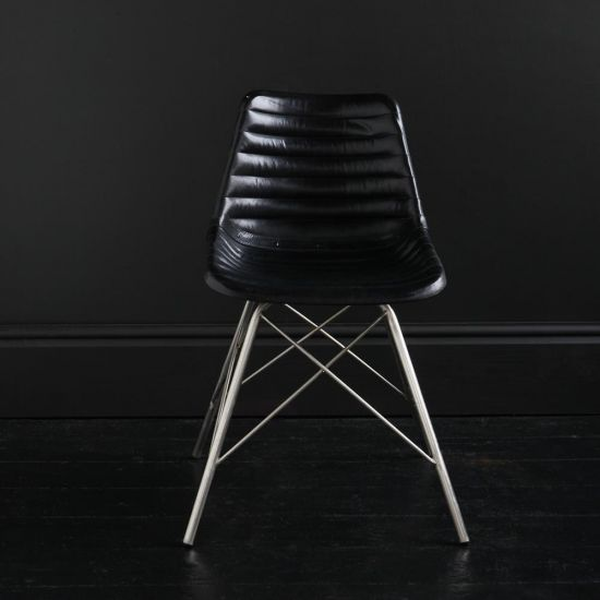 ROAD HOUSE CHAIR WITH BLACK RIBBED LEATHER SEAT & NICKEL CROSS LEGS