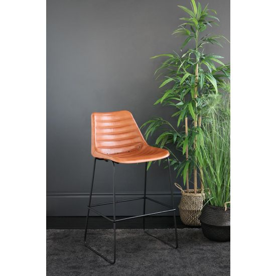 DELUXE ROAD HOUSE BAR STOOL TAN RIBBED SEAT BLACK BASE 67 CM