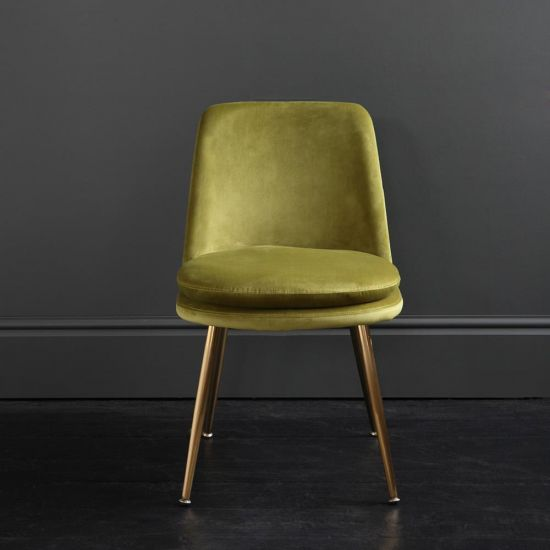 The Chelsea – Velvet Dining Chair – In Moss Green
