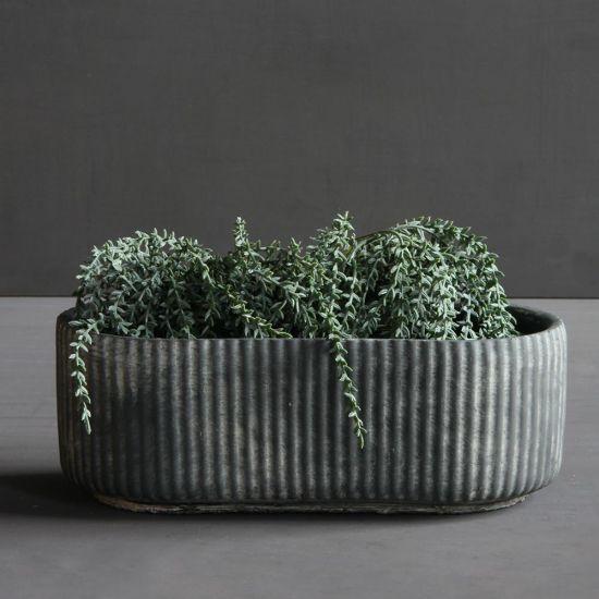 Nea Long Plant Pot Black Grey Concrete Rustic Planter Garden 28 cm width