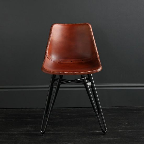Gansevoort Dining Chair - Brown Plain - Black Base