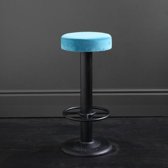 Pole Bar Stool - Pacific Blue Velvet - Black Base - 70