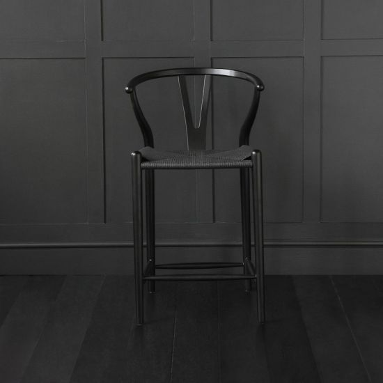 Wishbone Bar Stool Hans Wegner Style Black Frame Black Seat Breakfast 66