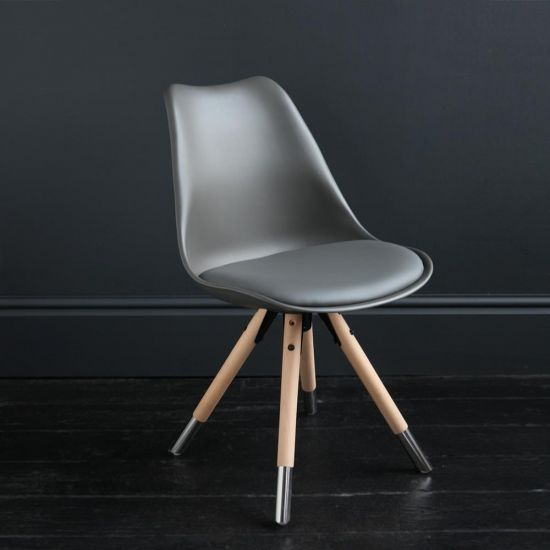 Jamie Dining Chair Dark Grey Resin Seat Natural Wood Base Scandinavian Nordic Seating