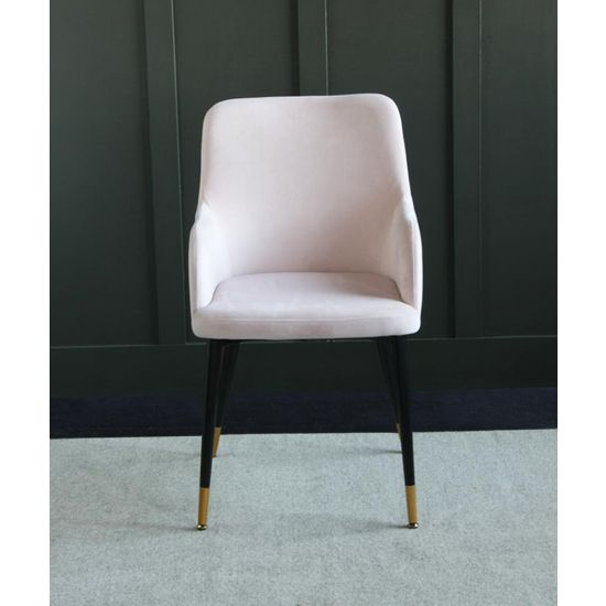 The Grand Pale Pink Velvet upholstered dining chair with Pencil leg and raised sides