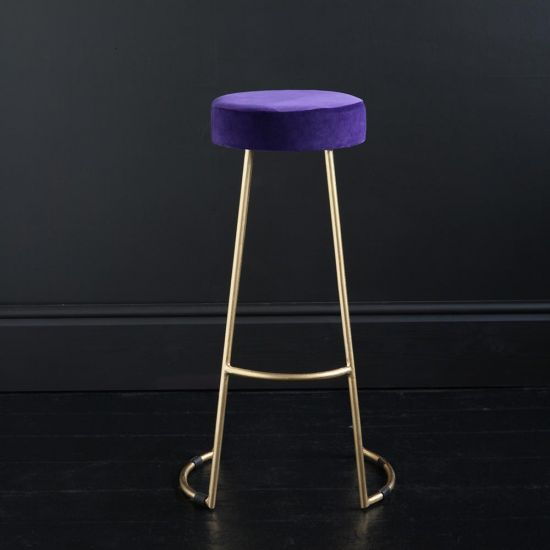 Tapas Velvet Cocktail Bar Stools - Royal Purple Velvet Seat - Gold base - 75 cm