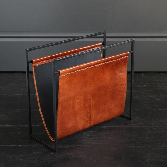 Soho Leather Magazine Rack Tan and Black Frame