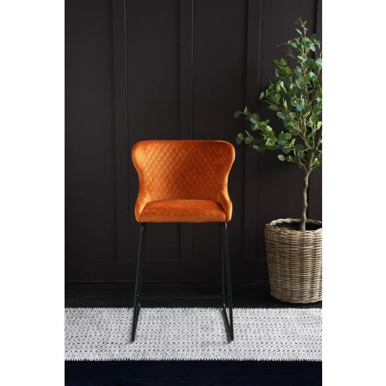 Cocktail Bar Stool in Burnt Orange Velvet