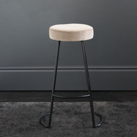 Tapas Velvet Cocktail Bar Stools - Linen Velvet Seat - Black base - 67cm
