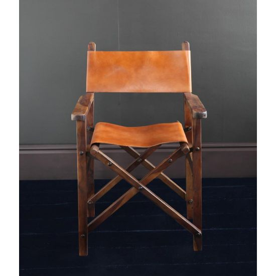 DIRECTORS CHAIR TAN SEAT AND BACK WITH BROWN SOLID WOOD FOLDING FRAME
