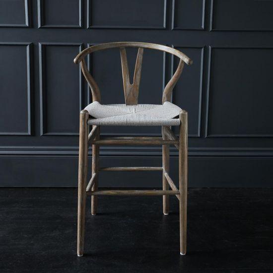 Hans Wenger Aged Elm Frame Grey Seat Wishbone Bar Stool 66 cm