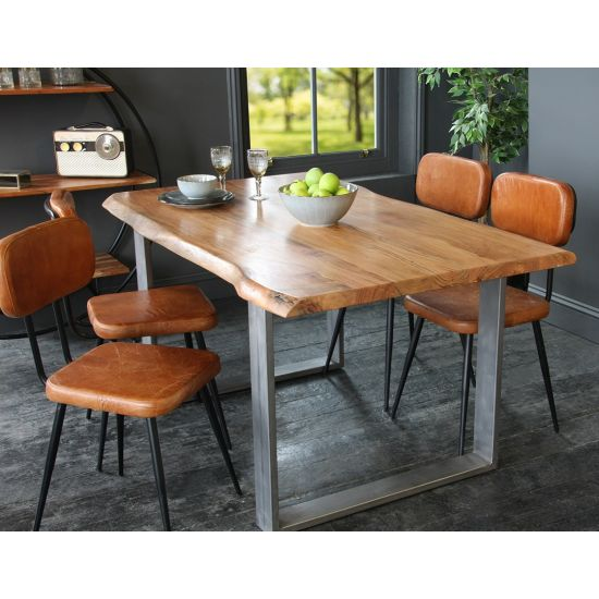 Acacia Dining Table / Desk with Natural Edge and Steel Box Leg
