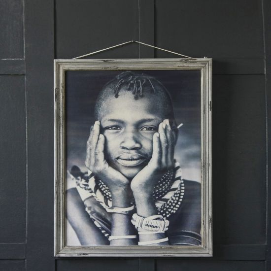 Framed Print of Maasai Boy - Aged Effect