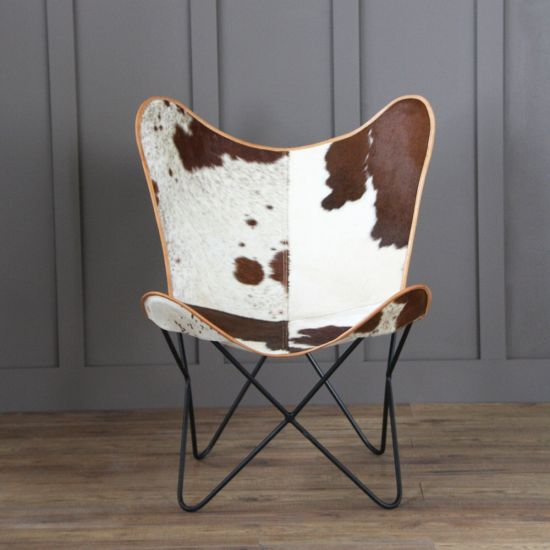 Butterfly Accent Chair, Cow Hide, Brown, Black Base