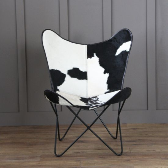 Butterfly Accent Chair, Cow Hide, Black