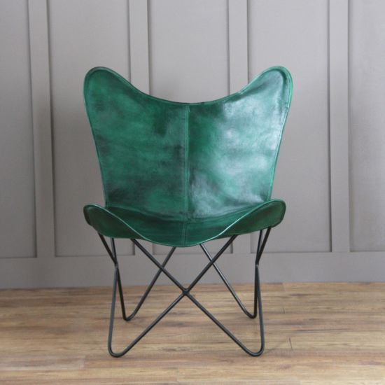 Butterfly Accent Chair, Genuine Leather, Green, Black Base