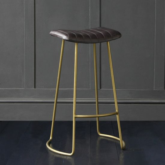 The Barcelona Bar Stool with Black Buffalo Upholstered Seat Brass Colored Metal Base, 76 cm Seat Height