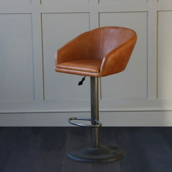 The Club Gas Lift Industrial Leather Bar Stool