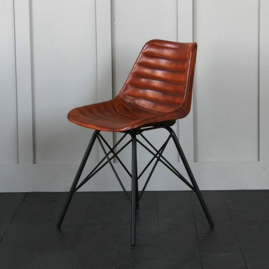 Road House Chair With Cross Legs, Brown, Ribbed Seat