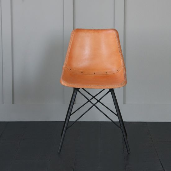 Road House Chair with Cross Legs, Tan Seat