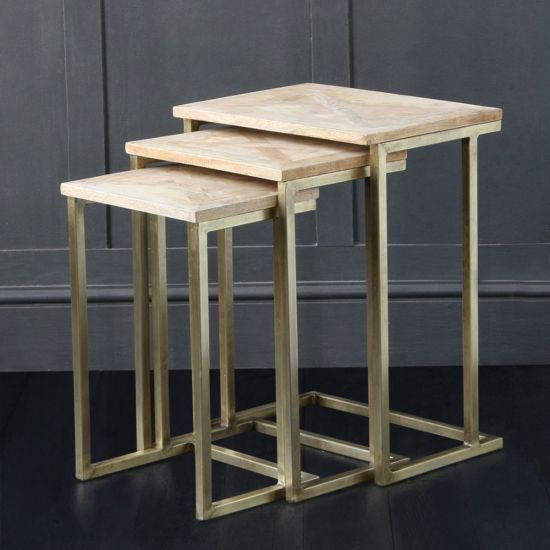 Parque - Nest Of Tables With Brass Coloured Base And Parque Top