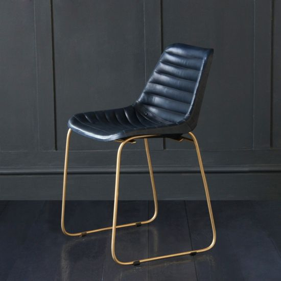 Deluxe Road House Dining Chair, Gold Base, Blue Ribbed Seat