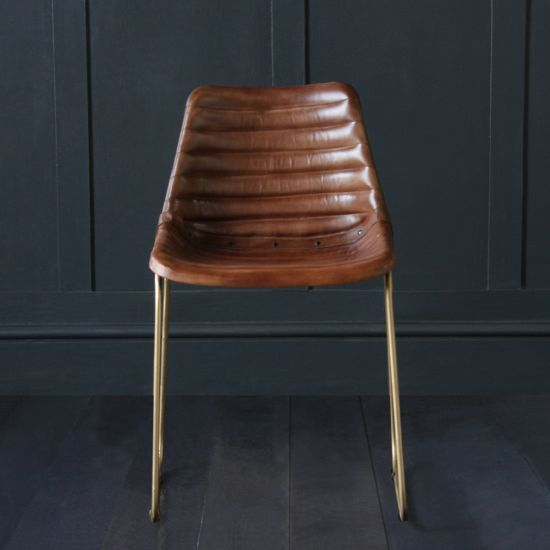 Deluxe Road House Dining Chair, Gold Base, Brown Ribbed Seat
