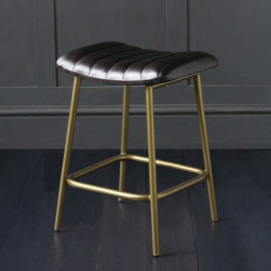Enfield Low Stool With Ribbed Upholstered Seat In Buffalo Leather / Brass Colour Leg