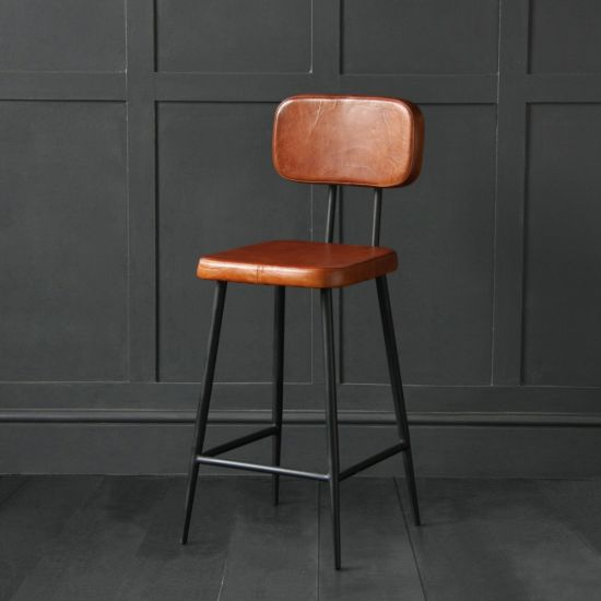 The Memphis Bar Stool 66 - Tan Buffalo Leather Black Base