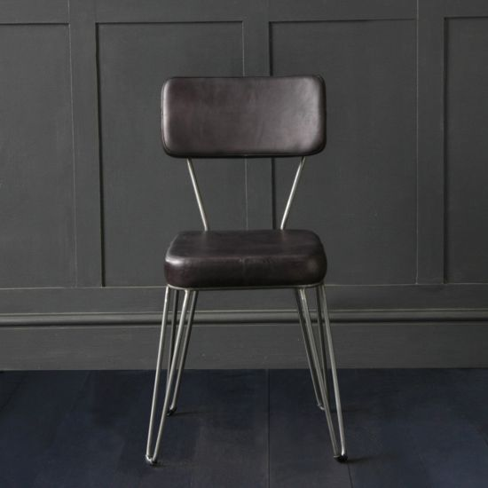 The Hairpin Dining Chair In Antique Black Buffalo Leather