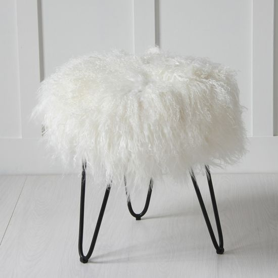 100% Genuine Mongolian Lamb Stool with Black Hairpin Leg, Natural