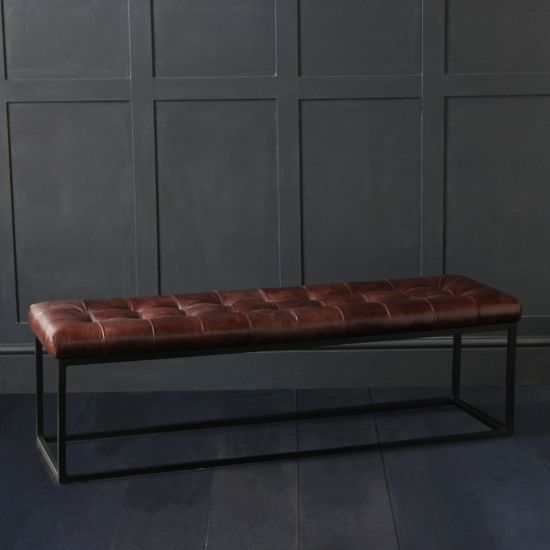 Oxford Buffalo Leather Ottoman With Black Metal Box Frame, 140cm Wide