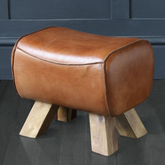 Pommel Horse Foot / Low Stool In Tan Buffalo Leather and Natural Wood Leg