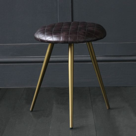 Low Stool With Pleated Cross Hatch Seat Made With Black Buffalo Leather / Brass Coloured Base