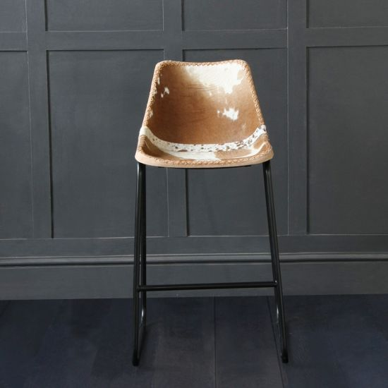 Road House Bar Stool, Brown & White Cow Hide, 67cm