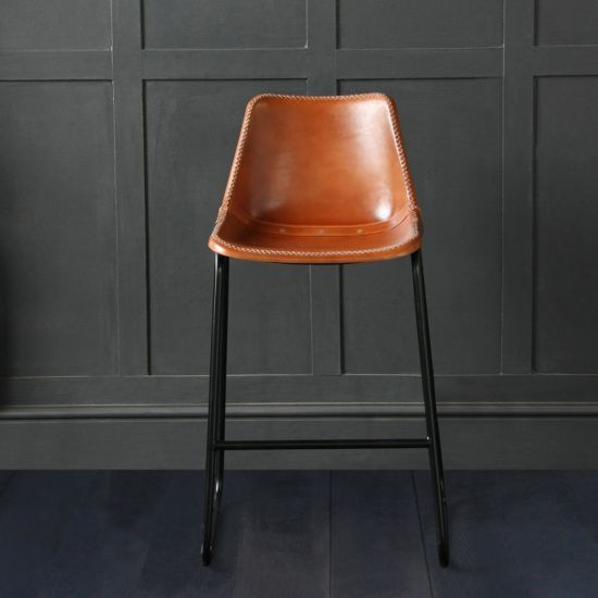 Road House Leather Bar Stool, Tan, 67cm